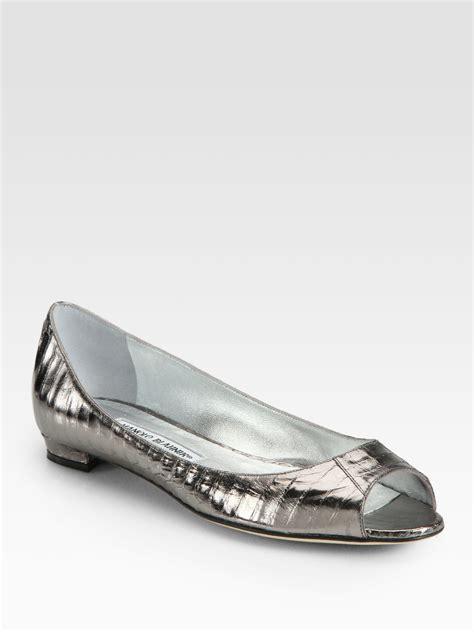 silver flat peep toe shoes manolo blahnik metallic snakeskin peep toe ballet flats in