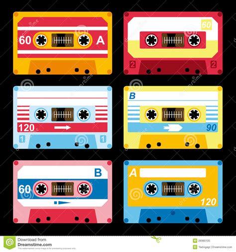 7 Audio Cassettes And 3 Video Cassettes by Conjunto De Cassettes Audios Coloridos Ilustraci 243 N Del