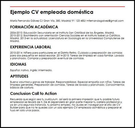 Modelo Curriculum Vitae Formacion Academica Ejemplo Cv Empleada Domestica Micvideal