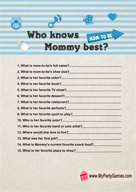 Who Best Baby Shower by Who Knows Best Free Printable Baby Shower