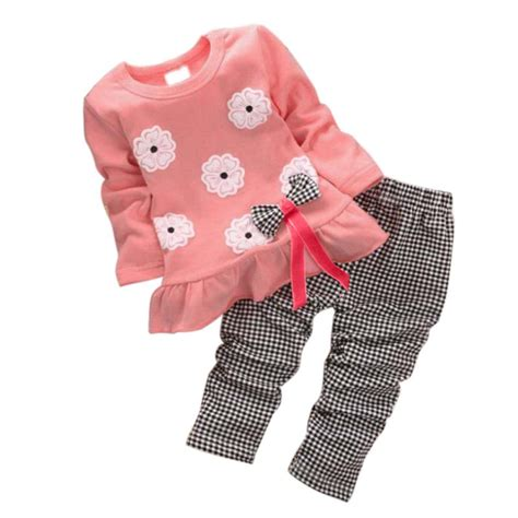 V7v Set Baby Minnie 2pcs baby minnie clothes sets pullover bow tops plaids checks set