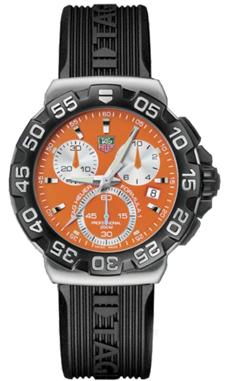 Tagheuer F1 Silver Black Orange cah1113 bt0705 tag heuer formula one mens automatic