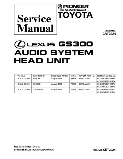 service repair manual free download 1997 lexus gs instrument cluster pioneer lexus gs300 kex m8076 m8176 m8476 crt2224 service manual download schematics eeprom