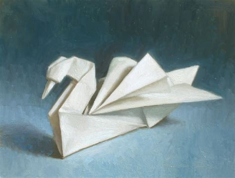 Folded Paper Painting - debbie s space origami swan painting