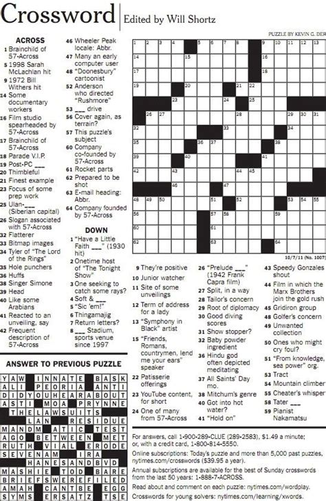 Pdf Todays Free New York Times Crossword by Ny Times Crossword Printable Carisoprodolpharm