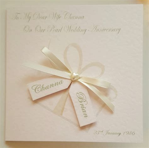 Personalised 30th Pearl Anniversary Card 1st 10th 25th