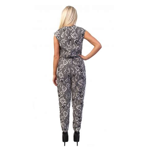 rose pattern jumpsuit floral rose jumpsuit with contrast dogtooth print