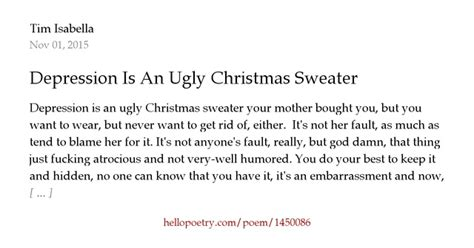 ugly christmas sweater poems depression is an sweater by tim hello poetry