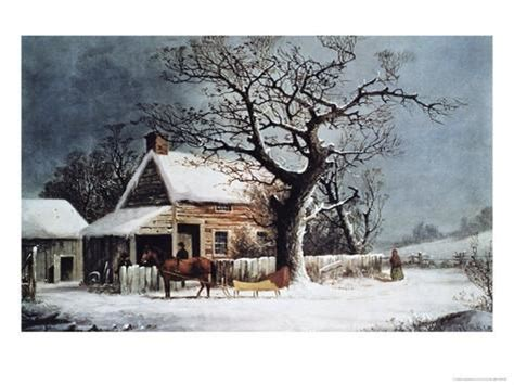 country cabin in an american winter giclee print by