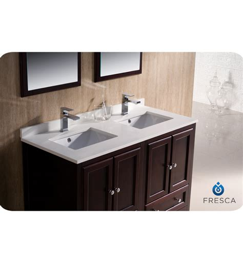 48 bathroom vanity double sink 48 quot fresca oxford fvn20 2424mh traditional double sink