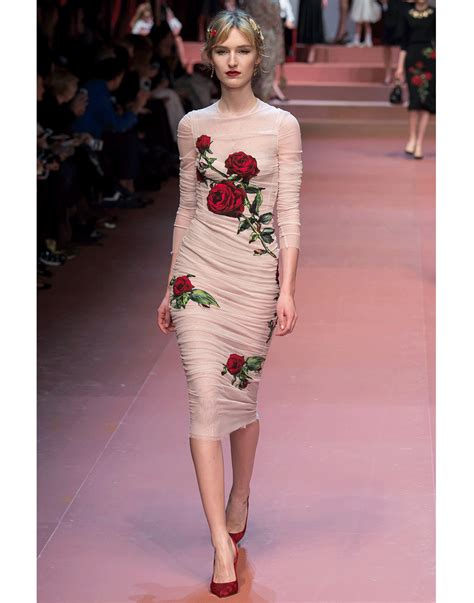 Dres Gabbana Dolce lyst dolce gabbana stretch tulle dress in pink
