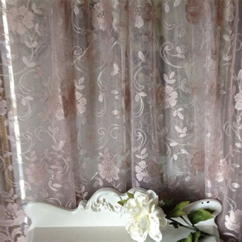 colored lace curtains vintage cocoa colored lace curtain panels shabby chic