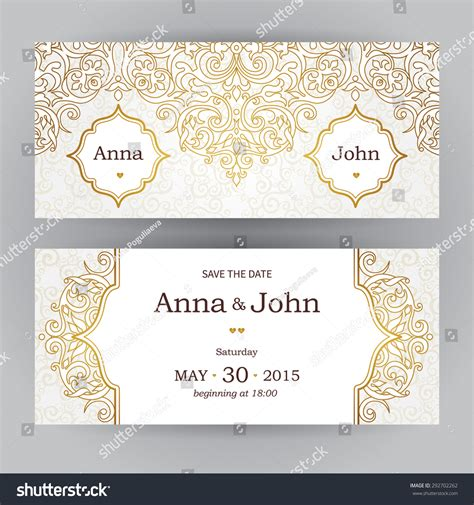 horizontal wedding invitation templates vintage horizontal cards in style eastern floral