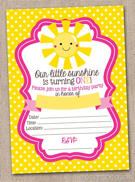 instant printable birthday invitations ink obsession designs little sunshine first birthday