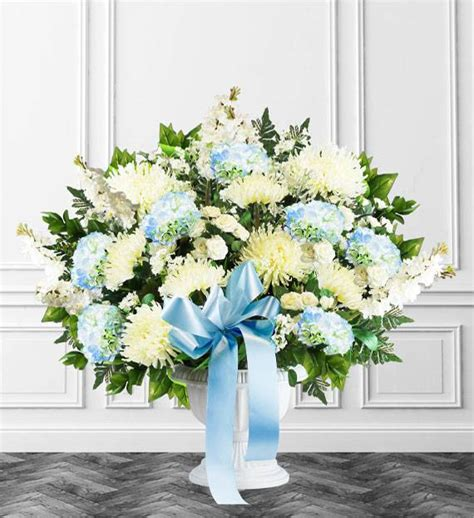 Blue And White Sympathy Floor Basket by Blue Sympathy Floor Basket Avas Flowers