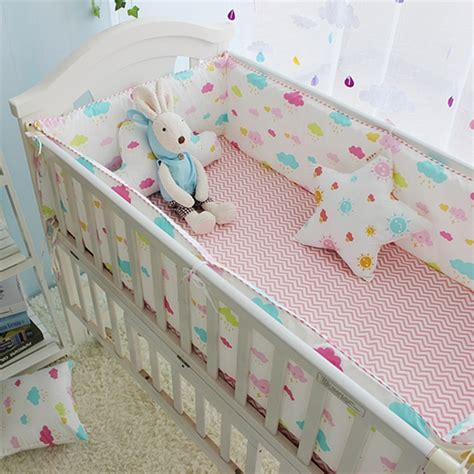 colorful clouds pattern girl baby crib bedding set newborn