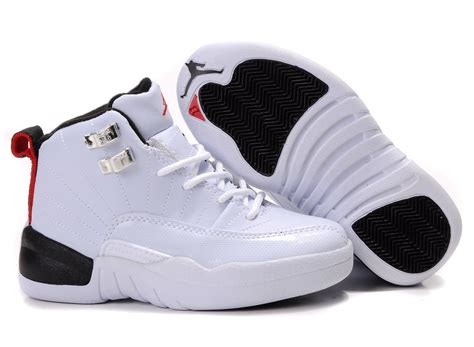 jordans sneakers children air 12 white side black sole shoes aj