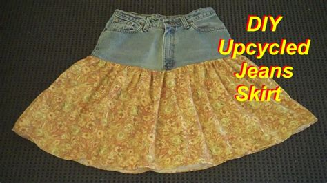 pattern for turning jeans into a skirt how to make a skirt from an old pair of jeans youtube