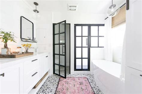 rug for bathroom floor pink rug on black and white cement tile bathroom floor