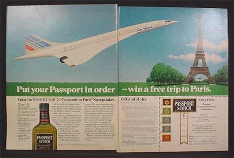 Passport To Paris Sweepstakes - magazine ad for passport scotch concorde to paris sweepstakes concorde jet 1980