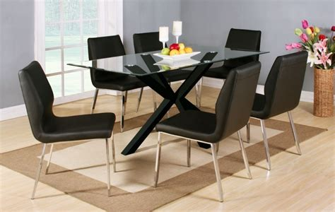 High Gloss Dining Table Set Clear Glass Black High Gloss Dining Table And 6 Chairs Homegenies