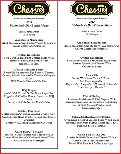 dinner menu ideas mccormick chessies valentine menus for lunch and dinner final final
