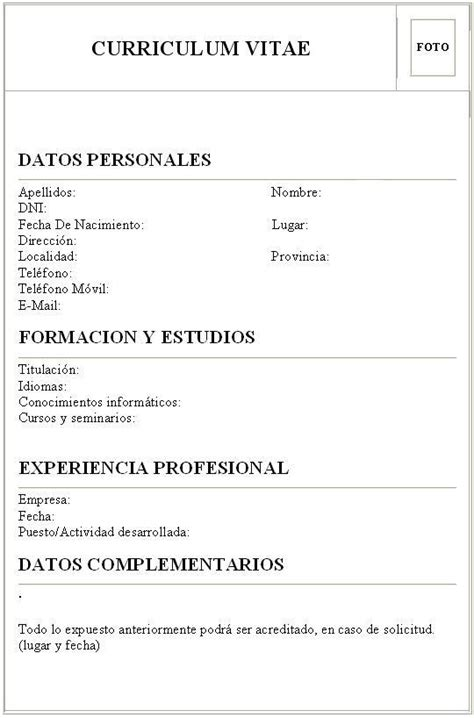 Modelo De Mi Primer Curriculum Vitae Experiencia Laboral Modelo De Curr 237 Culum Vitae Sinergia Creativa