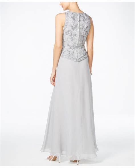 jkara beaded chiffon gown j kara beaded chiffon gown and scarf in silver lyst