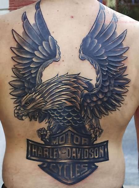 harley davidson eagle tattoo designs large winged eagle sitting on harley davidson