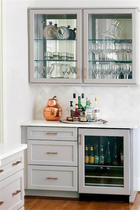 kitchen bar cabinet gray kitchen bar with glass door beverage fridge