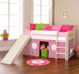 play 3 midsleeper bed with slide tent pink by stompa