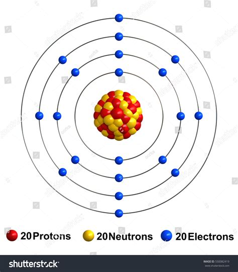 Protons Of Calcium by 3d Render Atom Structure Calcium Isolated Stock