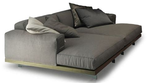 deep sofa couch modern chaise with base in chromed aluminum and walnut