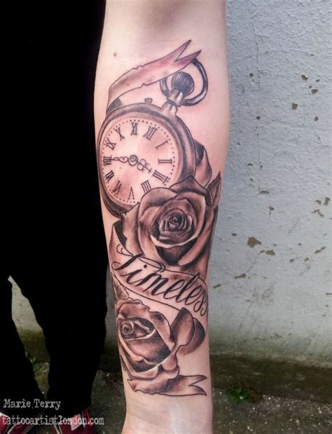 London Tattoo Marie Terry | pocket watch and roses tattoo london based tattoo artist
