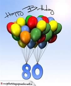 sprüche zum 80 geburtstag geburtstagskarte mit luftballons zum 80 geburtstag geburtstagsspr 252 che welt