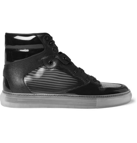 balenciaga black sneakers lyst balenciaga panelled high top sneakers in black for
