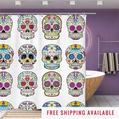 sugar skull bathroom accessories sugar skull shower curtain mexican skull decor by