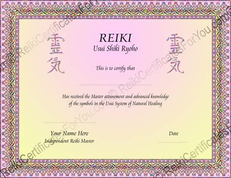 Reiki Certificate Templates reiki certificates for you