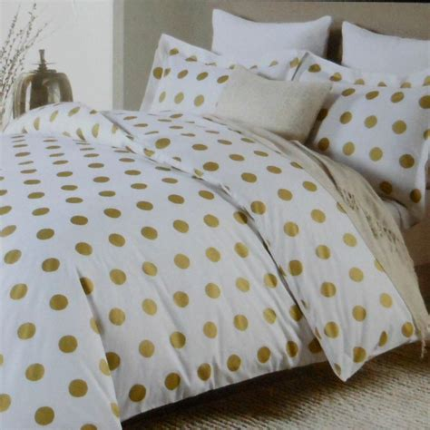 Nicole Miller Large Polka Dot 3pc Queen Duvet Set Gold On White Cotton Dots Large Charts And