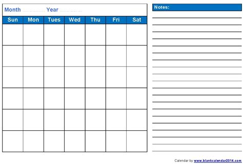 calendar notes template monthly 2016 pdf calendar notes landscape