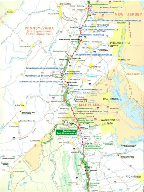 Appalachian Trail Section Maps by Appalachian Trail Shelters Pa