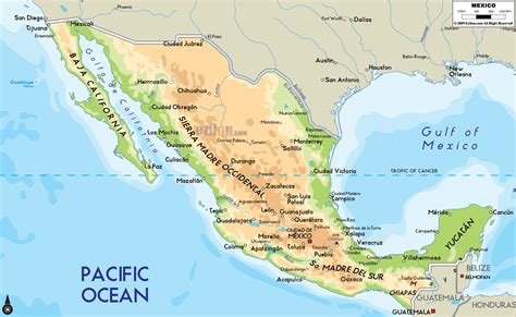 physical maps of mexico physical map of mexico ezilon maps