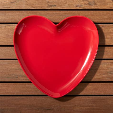 valentine heart melamine plate crate barrel