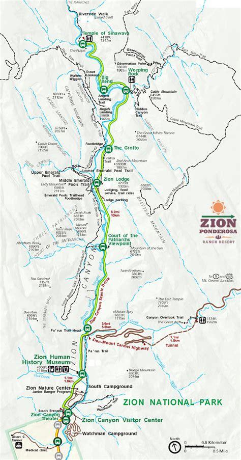 zion park map zion national park maps information zion ponderosa