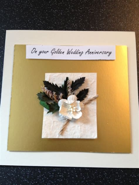 Handmade Golden Wedding Cards - golden wedding anniversary handmade card folksy