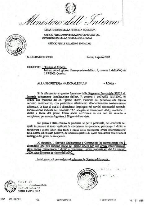 ministri dell interno 31 luglio 2002 ipotesi di accordo relativa alla