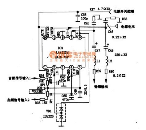 integrated circuit parts the integrated circuit diagram of two channel audio power am circuit diagram world