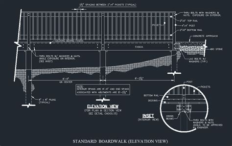 Residential Garage Plans Wood Boardwalk Elevated Walkway Detail Cad Files Dwg