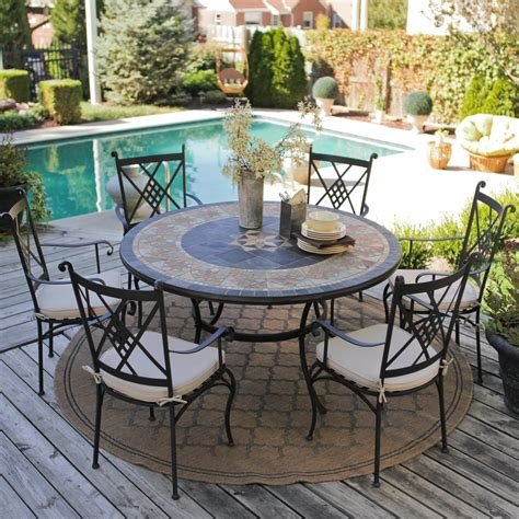 Palazetto Strada 60 inch Round Mosaic Dining Set   Seats 6