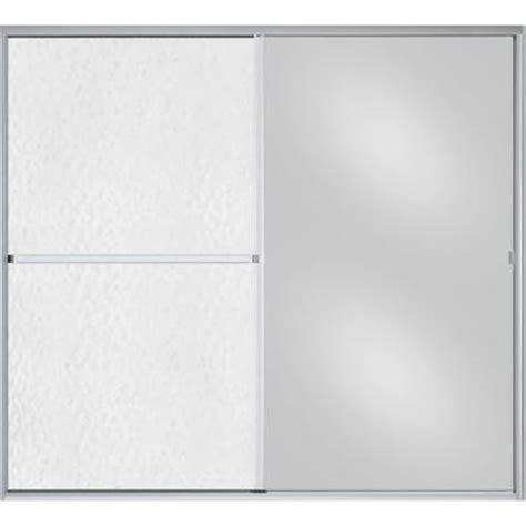 Sterling Standard 59 In X 56 7 16 In Framed Sliding Tub Hammered Glass Shower Door